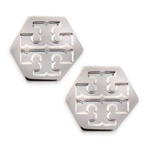 NWT~TORY BURCH~SILVER Hexagon Logo Stud Earrings